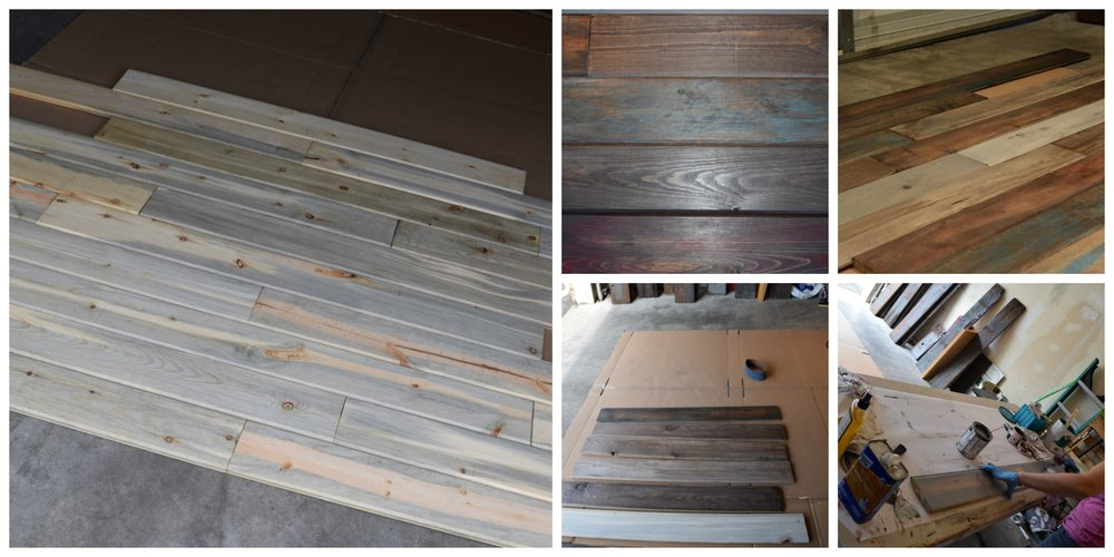 For the flooring, a friend of mine had some tongue and groove Beetle Kill Pine so I decided to randomly stain planks with some dark and light colors while adding a little bit of color to some of the planks too.