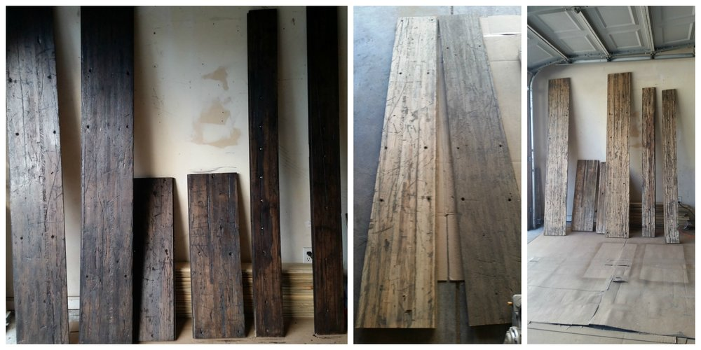 These pieces were also found through Craigslist. This wood is salvaged from the flooring of a semi-tractor trailer. The two wide long pieces are intended for the counter top, the two wide short pieces are for the tops of the wheel well covers and the two long thin planks are for the shelving.