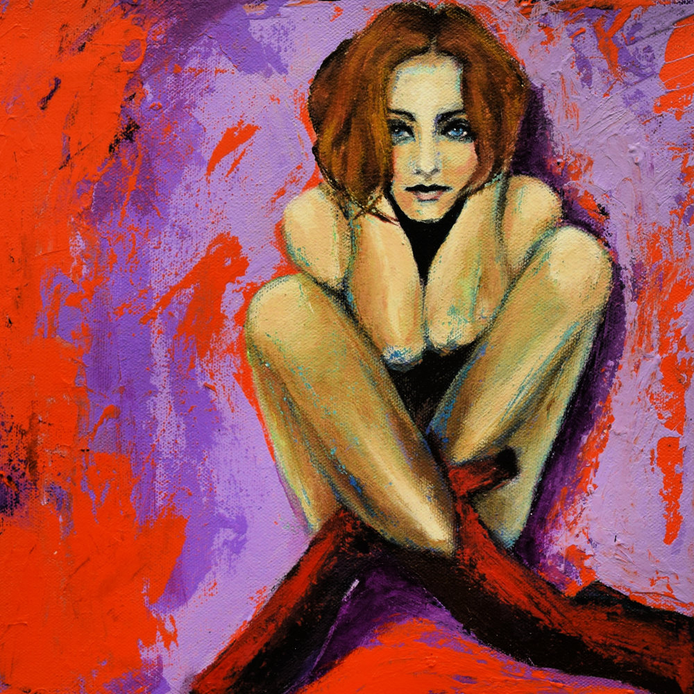 "The Fiery Redhead in Boots, April 2019, 12"" x12"" acrylic painting"