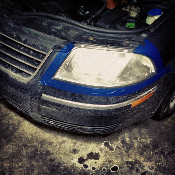 A good day for de-hazing my headlights. #vw #passat #b5