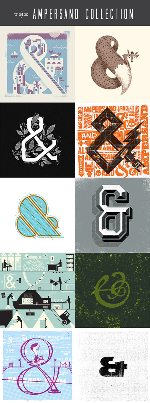 The Ampersand Collection is a curated package of 10 Original 9x9 prints from 10 designers around the interwebs. Each ampersand is hand printed on a cover weight stock of Mr. French paper. The package of prints are held inside a celophane wrapping in a custom folder in a limited-edition of 200.