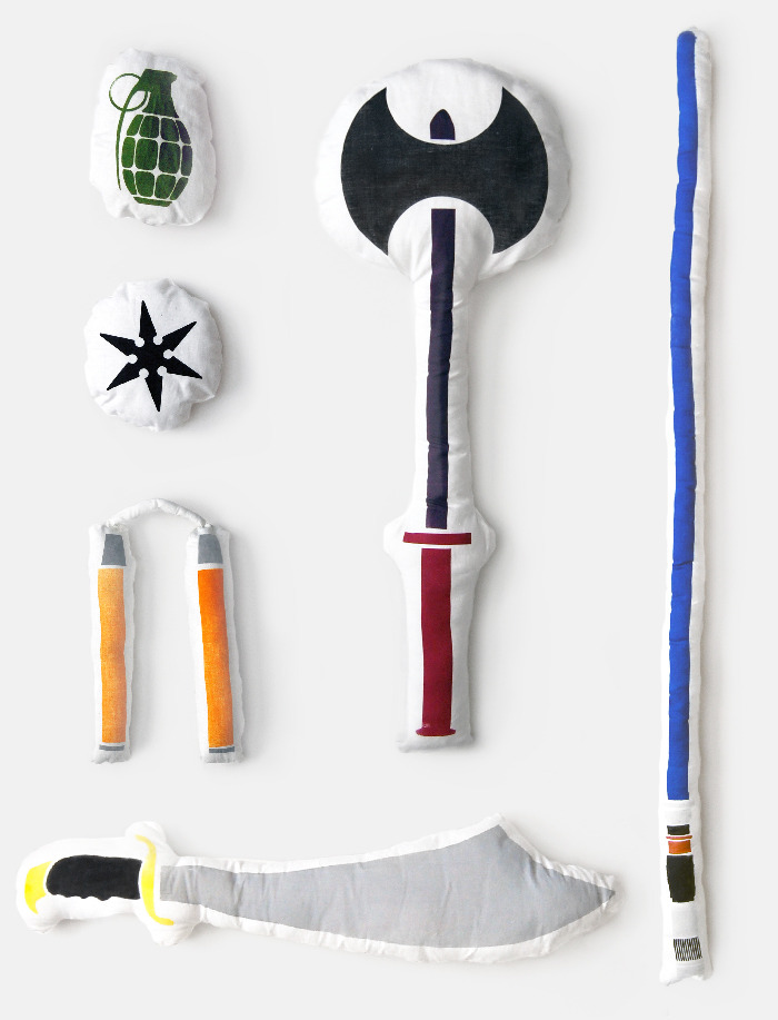 laughingsquid :      Pillow Fight Weapons      So creative.