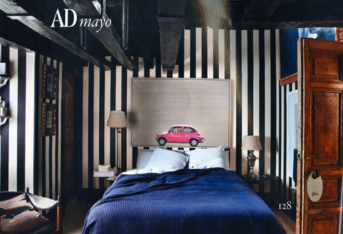 upfrontworld :      Bed Bug!    Just kidding, it's actually a vintage  Fiat 500 .   Read more about  Gaspar's  unique loft in the May issue of  Architectural Digest .