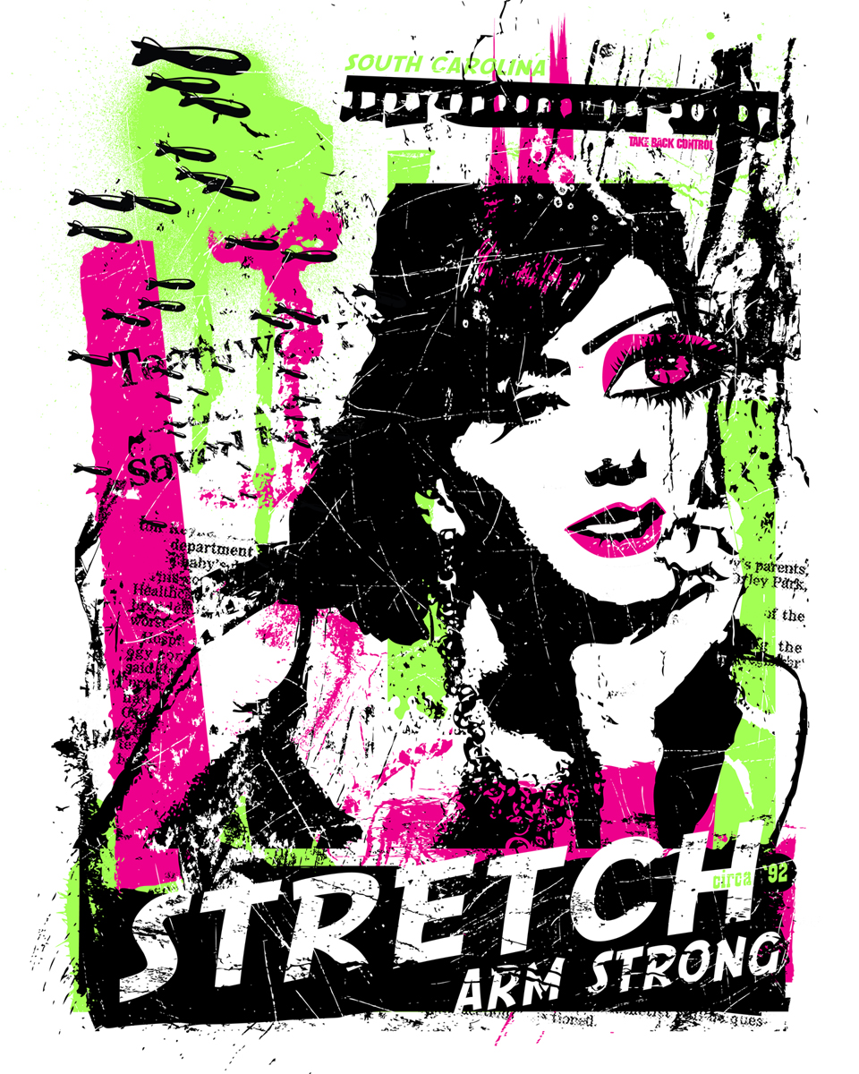"16 x 20 | screenprint | 60lb lightweight drawing paper | ed. of 10     I've been listening to the band, ""Stretch Arm Strong"" all weekend long, so I was inspired to create a poster for their band. They are a punkxxxcore band from the mid nineties and frickin good. All shapes/images were made from found imagery and original artwork."