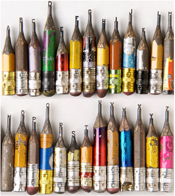 Pencil Tip Micro Sculptures By Dalton Ghetti! Brazilian born, Connecticut based, Dalton Ghetti carefully crafts the tips of pencils into amazing micro sculptures. These miniature masterpieces are a side project for the professional carpenter, who has been perfecting this art for the last 25 years. Dalton uses a razor blade, sewing needle, a sculpting knife, a steady hand and lots of patience to meticulously carve the graphite which can take anywhere between a few months to a few years. Over time he has broken many works in progress and keeps them in what he calls the cemetery collection. One of the most fascinating things about these tiny works of art is that he has never sold them, only given away to friends as gifts.