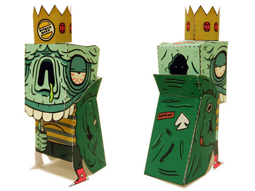 "IWANTYOURSKULL.COM  teamed up with PAPERCRAFT and a bunch of great artists to create these  Long Live the King  paper toys! Check out the rest of the kings at IWANTYOURSKULL's website!   ""We had such a great response to the paper craft toy included with issue 8 of I Want Your Skull, that we decided to expand on the idea. The best solution was to call on our friend,  Horrorwood , and he kindly offered up his amazing  Skull King  craft for customization by some of IWYS's favorite artists.   Many thanks go out to Jack (aka Horrorwood) for all his help in this project. Not only did he provide us with the platform for this project, but he also handled all the leg work of compiling the customs and putting this whole thing together. His paper craft site:  Horrorwood Hills  is jam packed with awesome ""Cut, Fold, Stick and Play"" goodness. Half of the customs are now available exclusively from his site at:   http://horrorwood.info/horrorwoodhills/skullkingartists.html  """