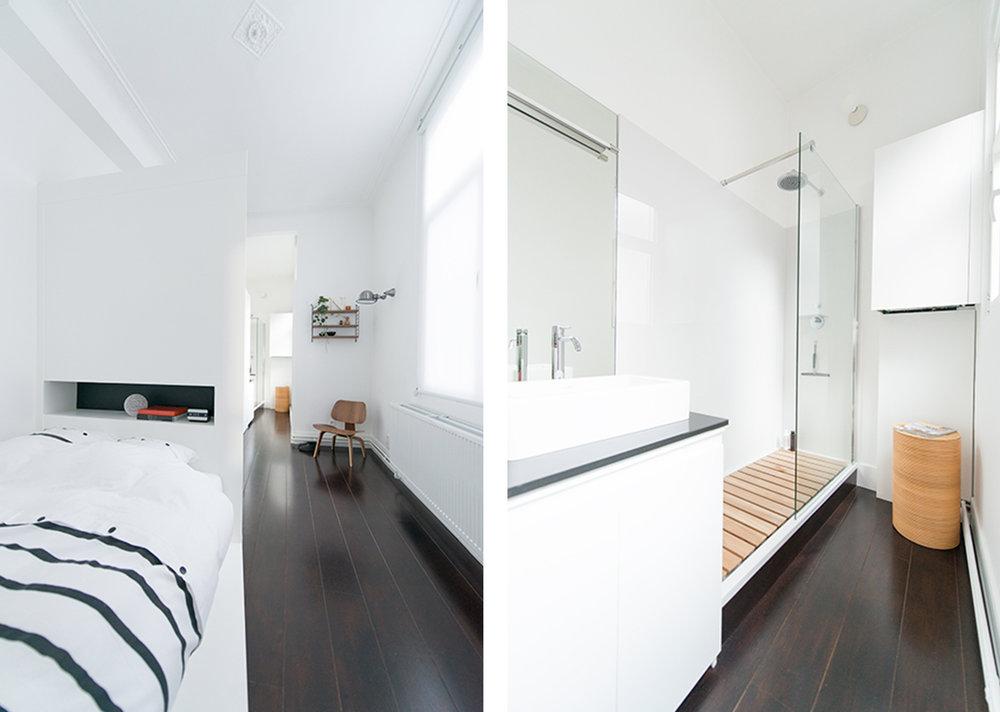 Slaap- en badkamer - Philippe Starck douche met houten inleg | Foto  ©  Tom Cole