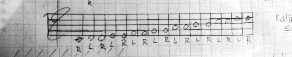 with the low center key being C, the kalimba scales to high D, on both the left and right sides. the pitches obviously are not equally tempered, but a tonal scale looks simple on the staff and feels like the easiest vehicle for notation.