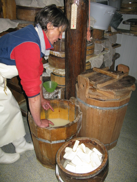 Blocks of curd are matured in whey overnight