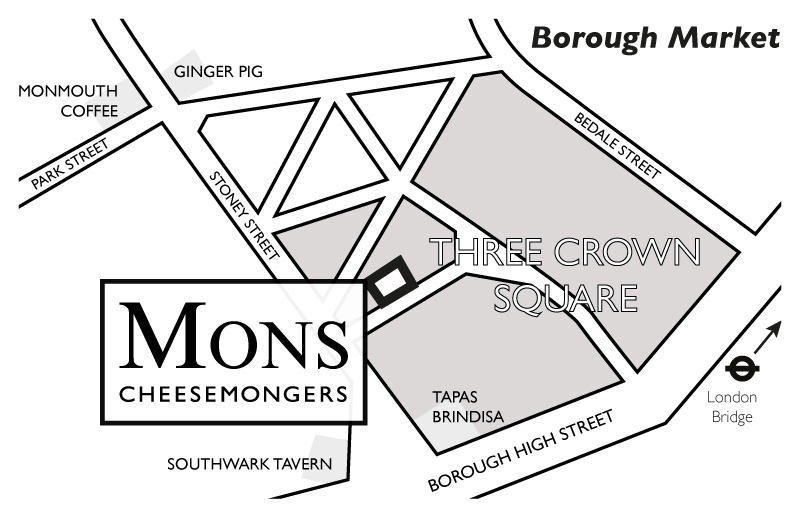Map of Mons at Three Crown Square, Borough Market. Click map to enlarge.