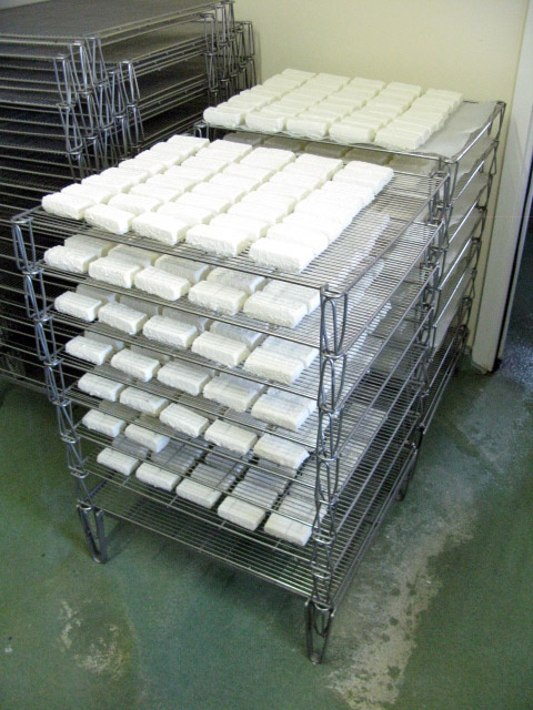 Lingots drying on racks