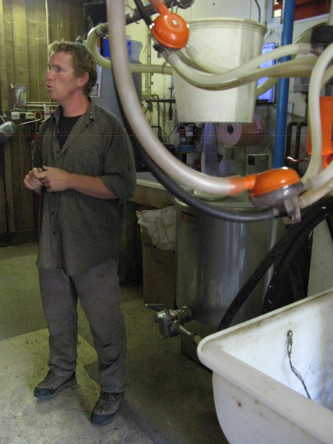 Francois in the milking parlour
