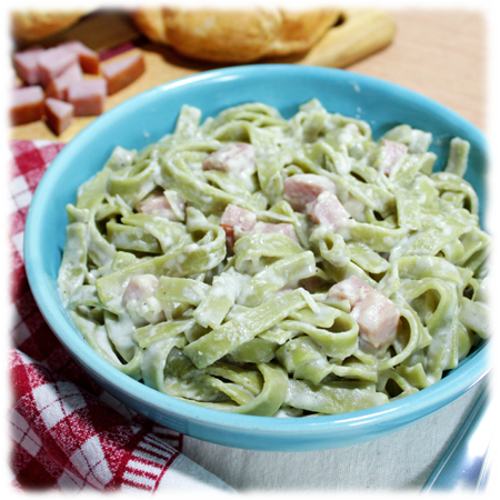 Easy Ham Alfredo with Noodles