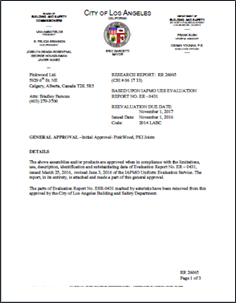 City of Los Angeles General Approval of PKI Joists.png