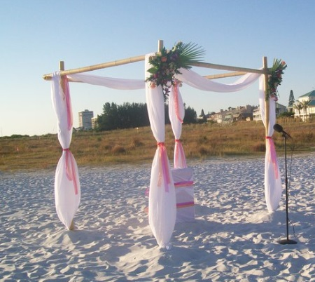 Bamboo Chuppah/Gazebo- $350 (Additional charges for Draping, Foliage and Flowers as seen in picture.)