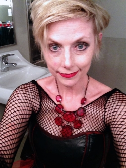 Selfie as Clytemnestra at the Long Center, mid- Deus Ex Machina . You get tousled slaughtering your husband then swanning off with your psychopath boyfriend.
