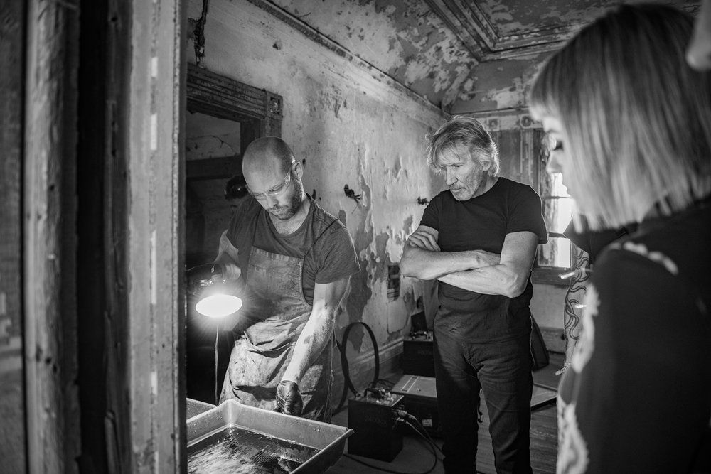 Giles and Roger Waters developing an ambrotype 2017.