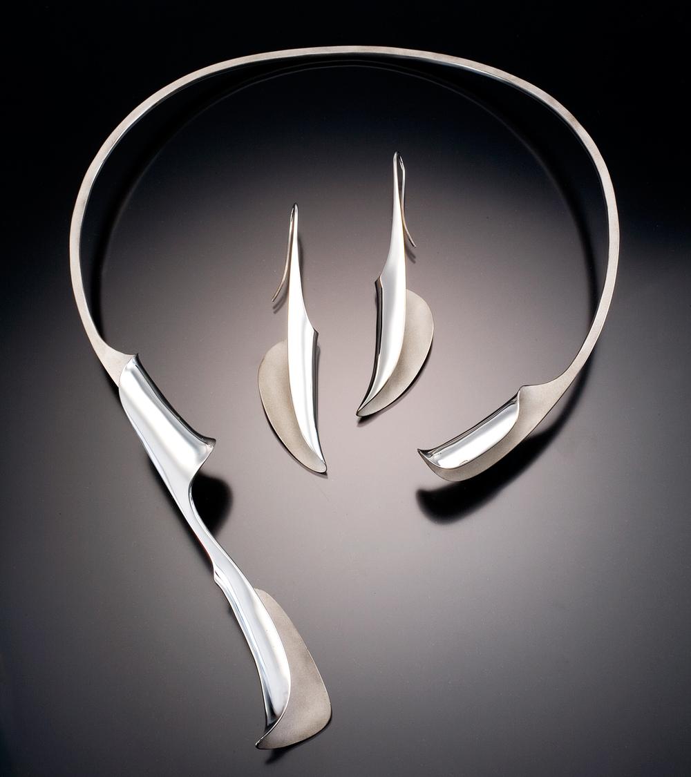 Unfurling Neckpiece and Large Unfurling Earrings