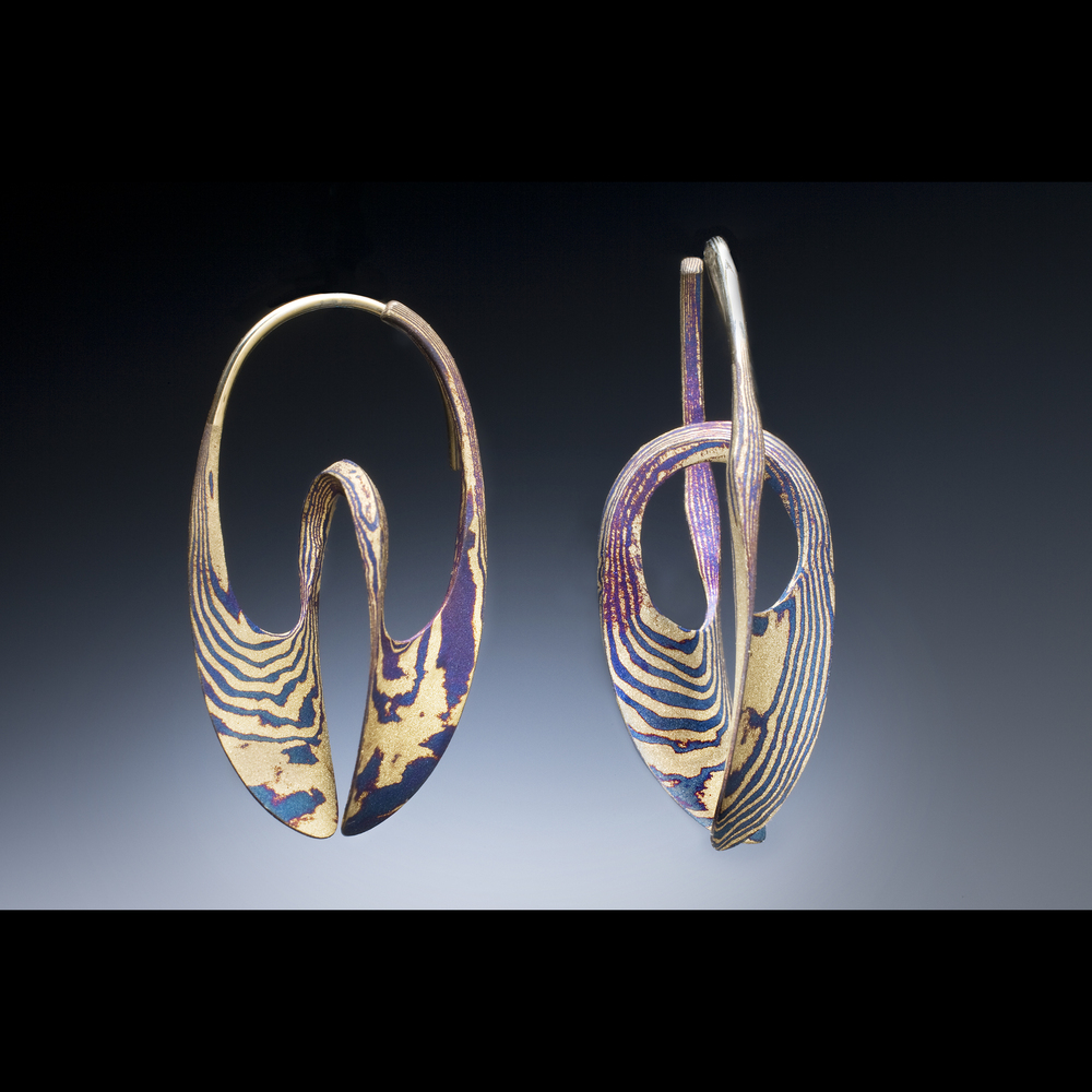 18k/oxidized Silver Mokume Gane Medium Continuum Hoops