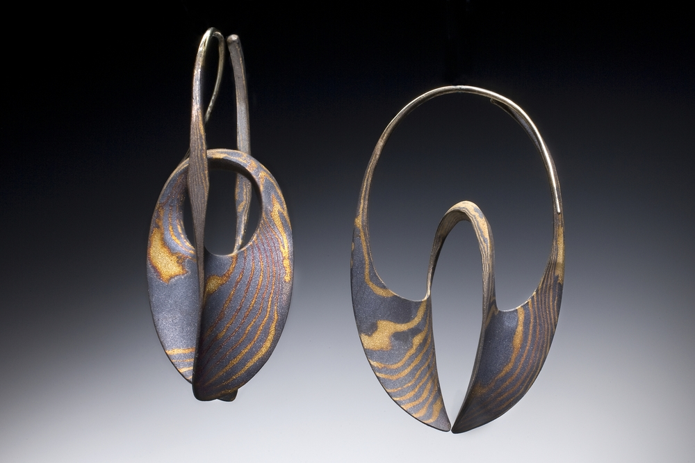 !8k/Sterlin Mokume Large Continuum Hoops