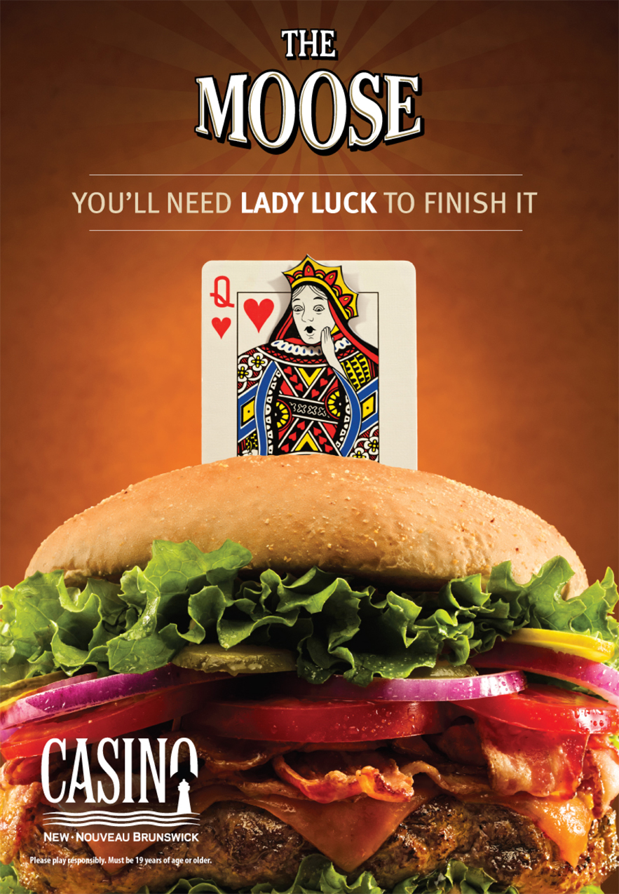 Casino New Brunswick (Moose's Wild) 'Lady Luck' transit shelter poster