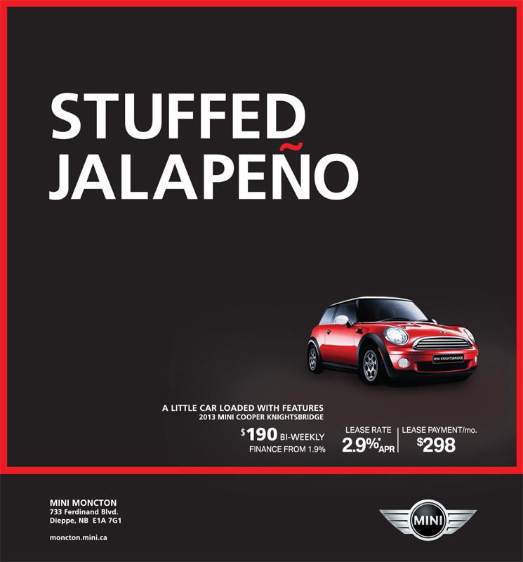 Mini Moncton 'Stuffed Jalapeno' print campaign