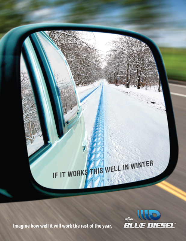 Irving Oil Blue Diesel 'Mirror' print ad