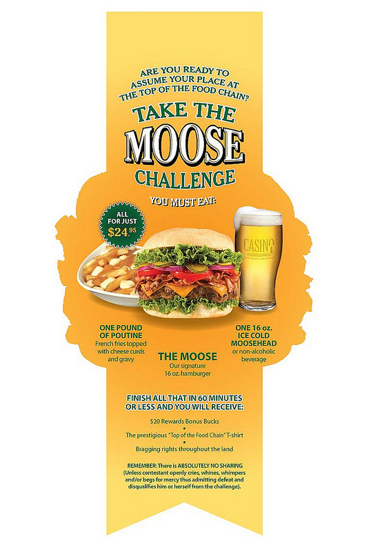 Casino New Brunswick (Moose's Wild) 'The Moose' menu insert flip-side