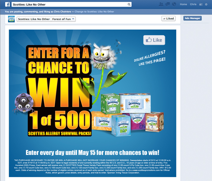 Scotties 'When Allergies Attack' Facebook promotion