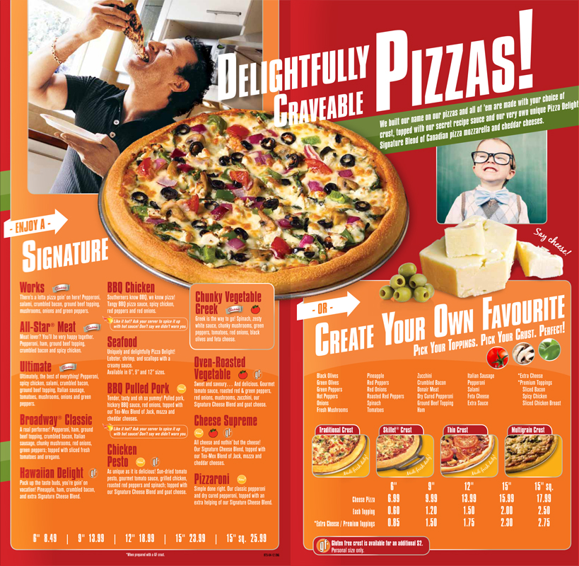 Pizza Delight menu redesign - inside spread