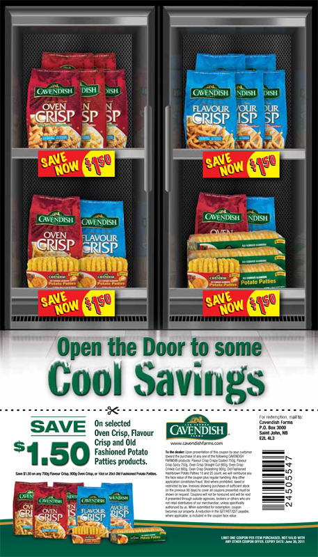 Cavendish Farms 'Cool Savings' coupon print campaign