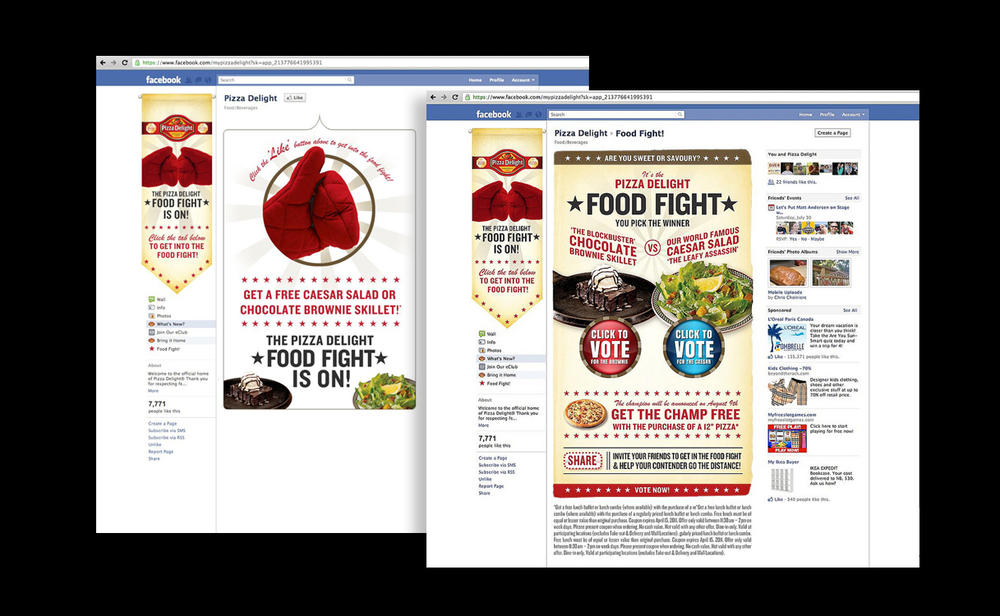 Pizza Delight 'Food Fight' Facebook promotion