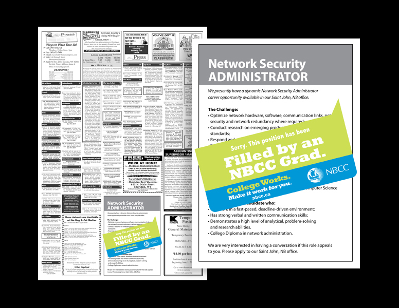 NBCC College Works sniped job listings ads