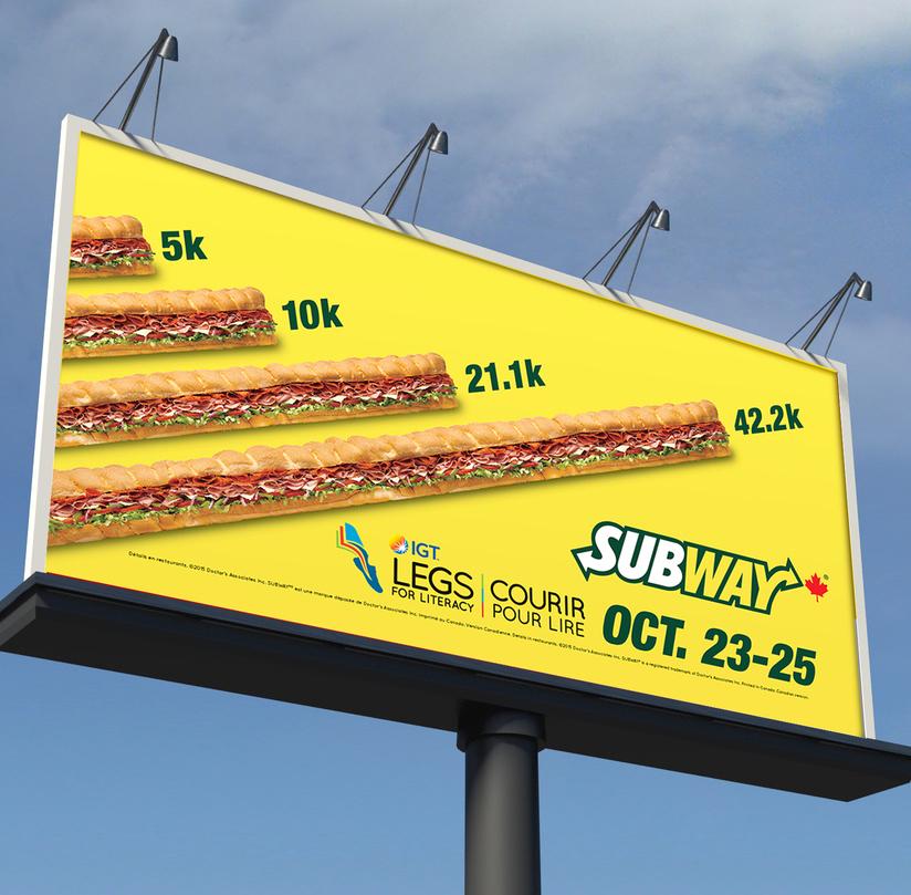 Legs for Literacy Subway Billboard