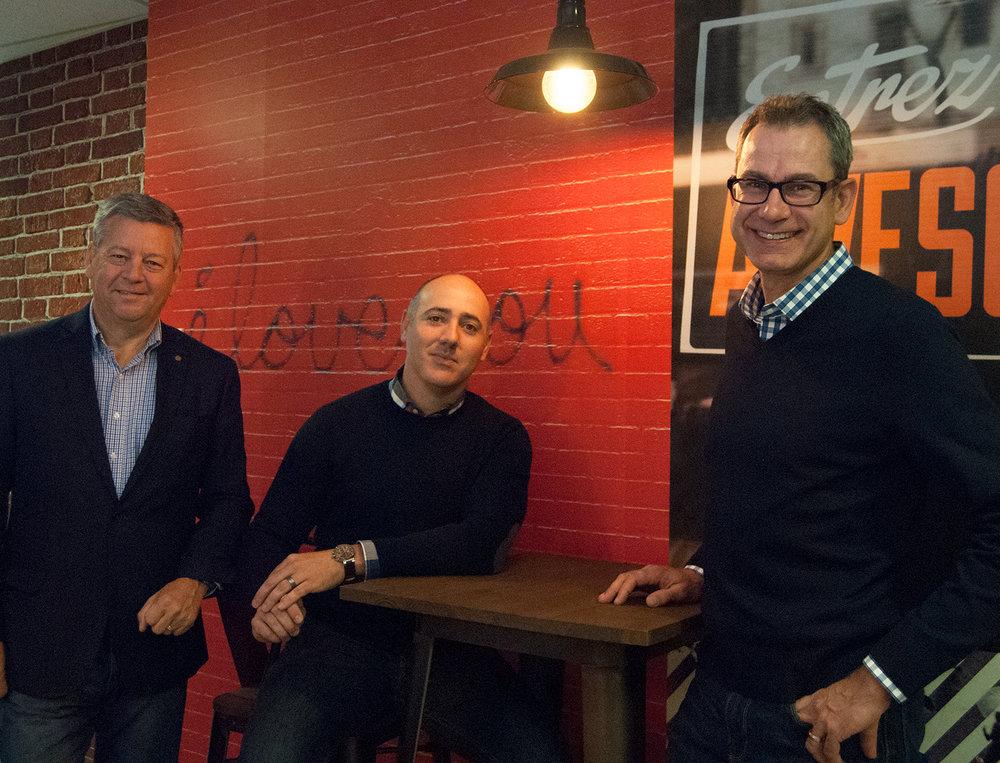 (Left to Right): Bill Whalen, CEO of Hawk Marketing, Jeff Gaudet, President of Hawk Marketing, David Spriet, President of Modern Media