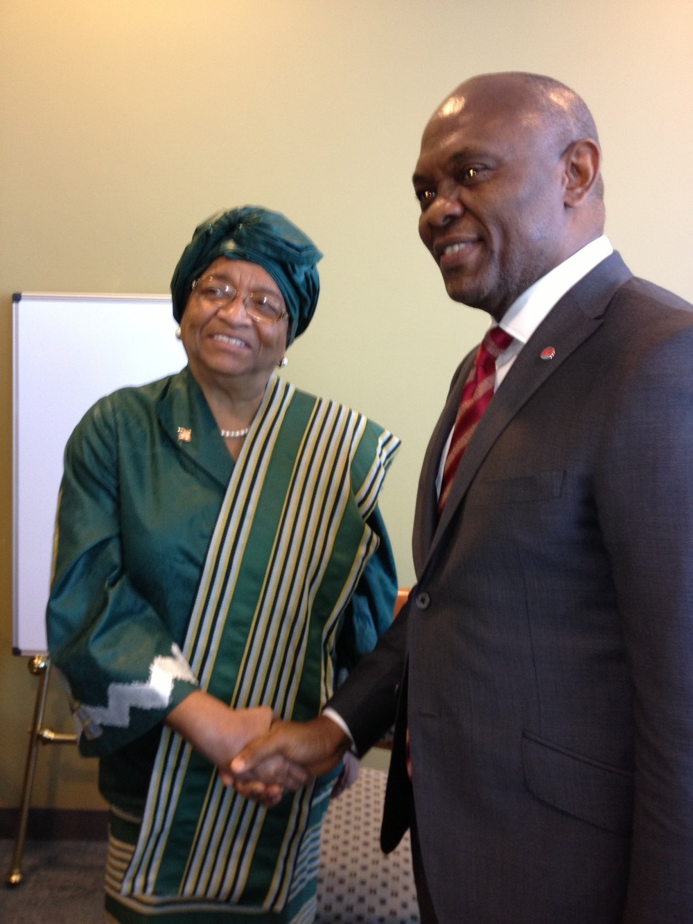 "President Ellen Johnson Sirleaf & Tony Elumelu from The Tony Elumelu Foundation and HEIRS Holdings  ""This is not your grandmother's philanthropy."" - Jennah Scott"