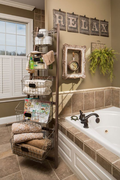 Try placing items near your tub....make your items easily accessible where you will actually use them.