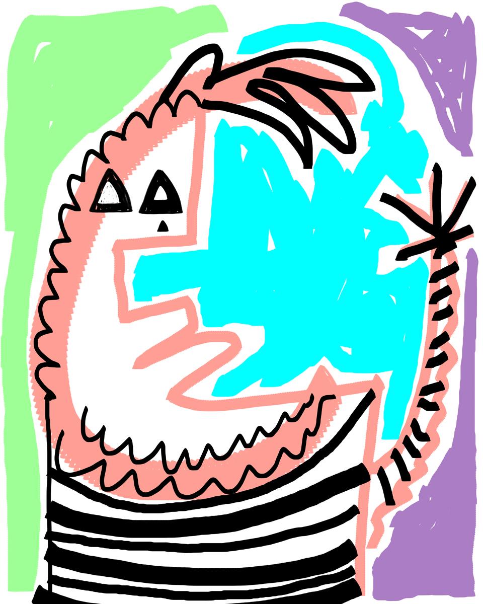 expressive digital art portrait inmate dancing