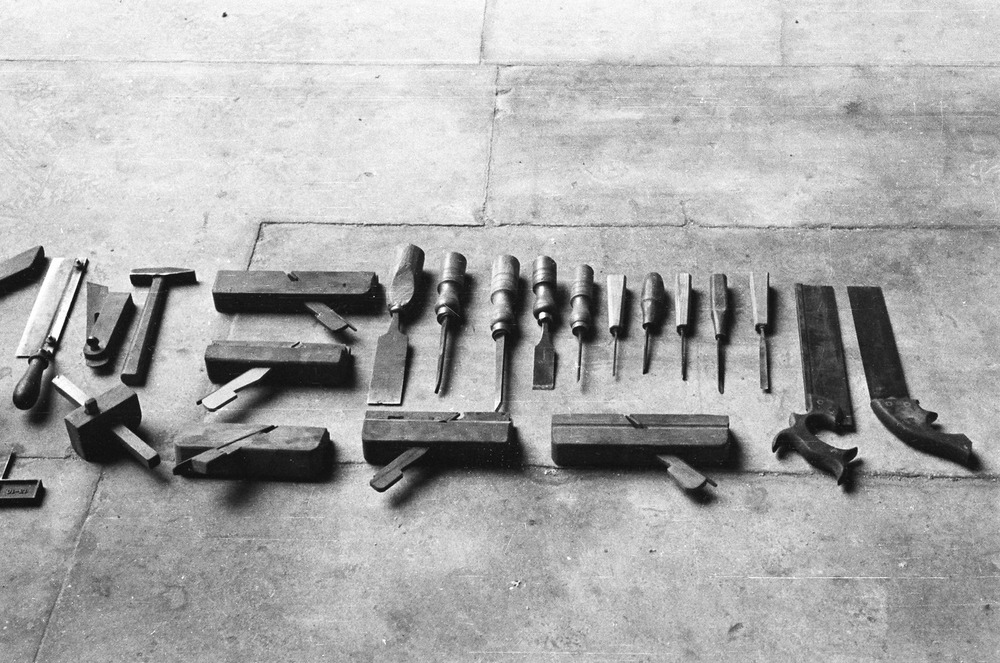 A photo of many old tools laid out. My creative process is kinda like that.