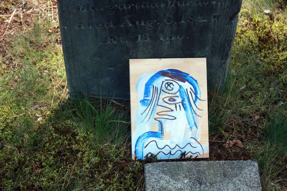 Photo of a mixed media painting in Pine Grove Cemetery.
