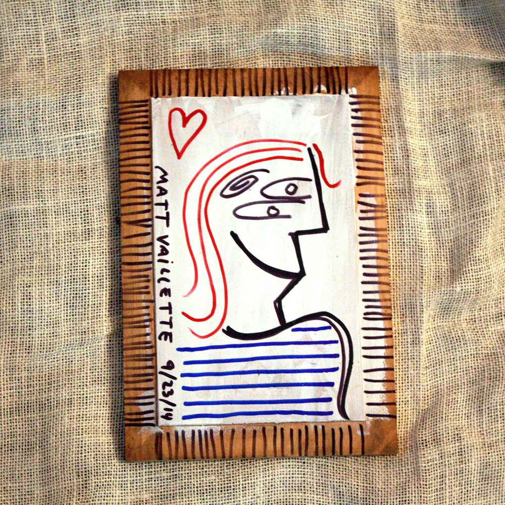 Semi-abstract portrait. Marker illustration on primed wood. Part of this free art drop!