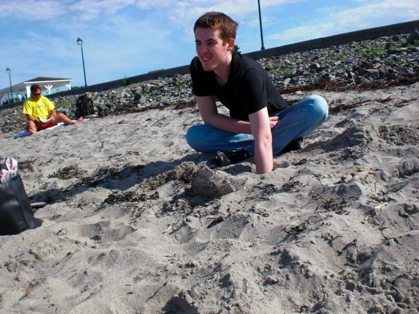 Me digging in the sand at the beach!
