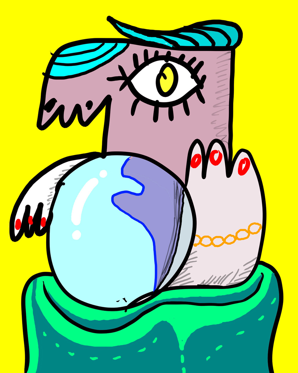 "Psychic wielding a crystal ball! ""3AAD"", digital art, 2015 by Matt Vaillette"