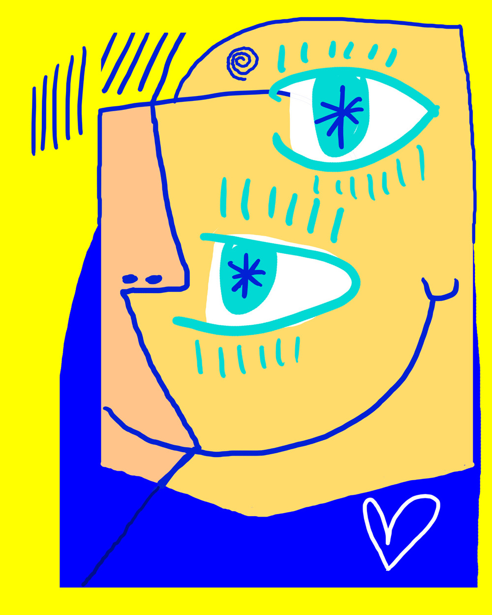 Quirky blue & yellow portrait by Matt Vaillette