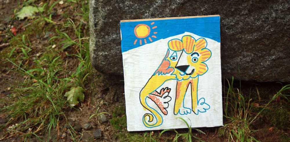 One of my lion art prints out in Carter Park!