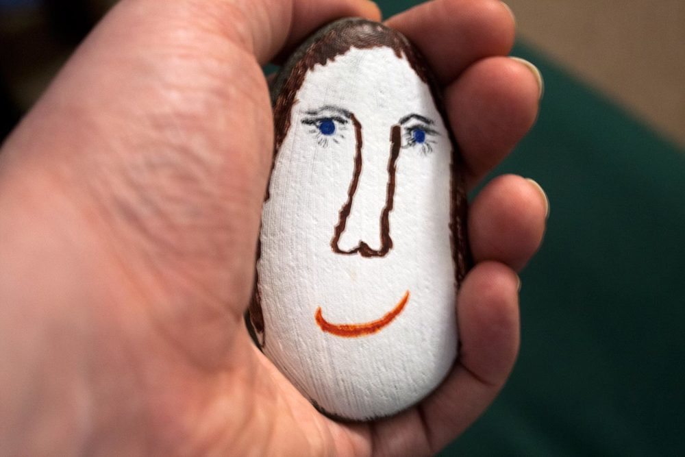 portrait on painted stone 2015, artist: unknown