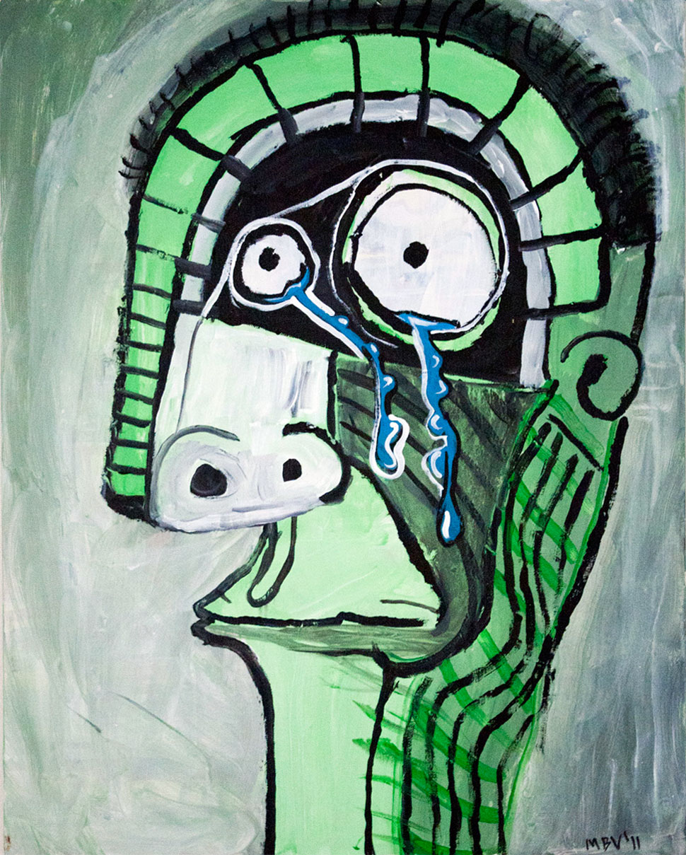 A painting depicting a very sad man. 2011 by Matt Vaillette