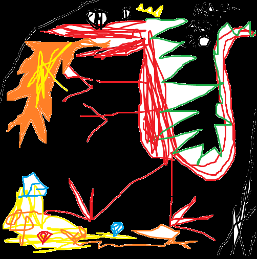 A silly bad drawing of a dragon that I made!