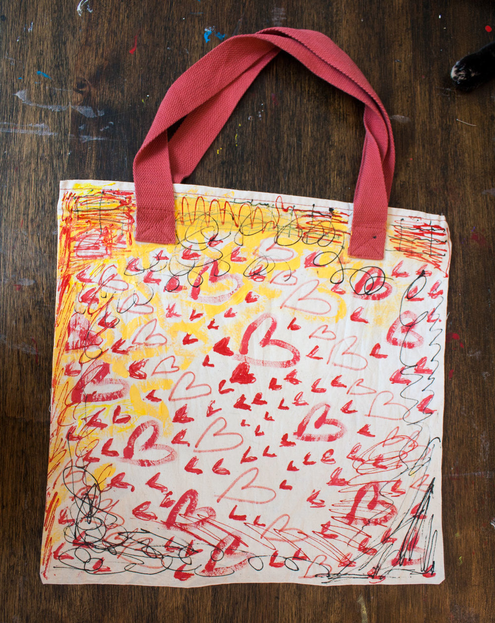 A painted cloth tote bag by Matt Vaillette, 2015