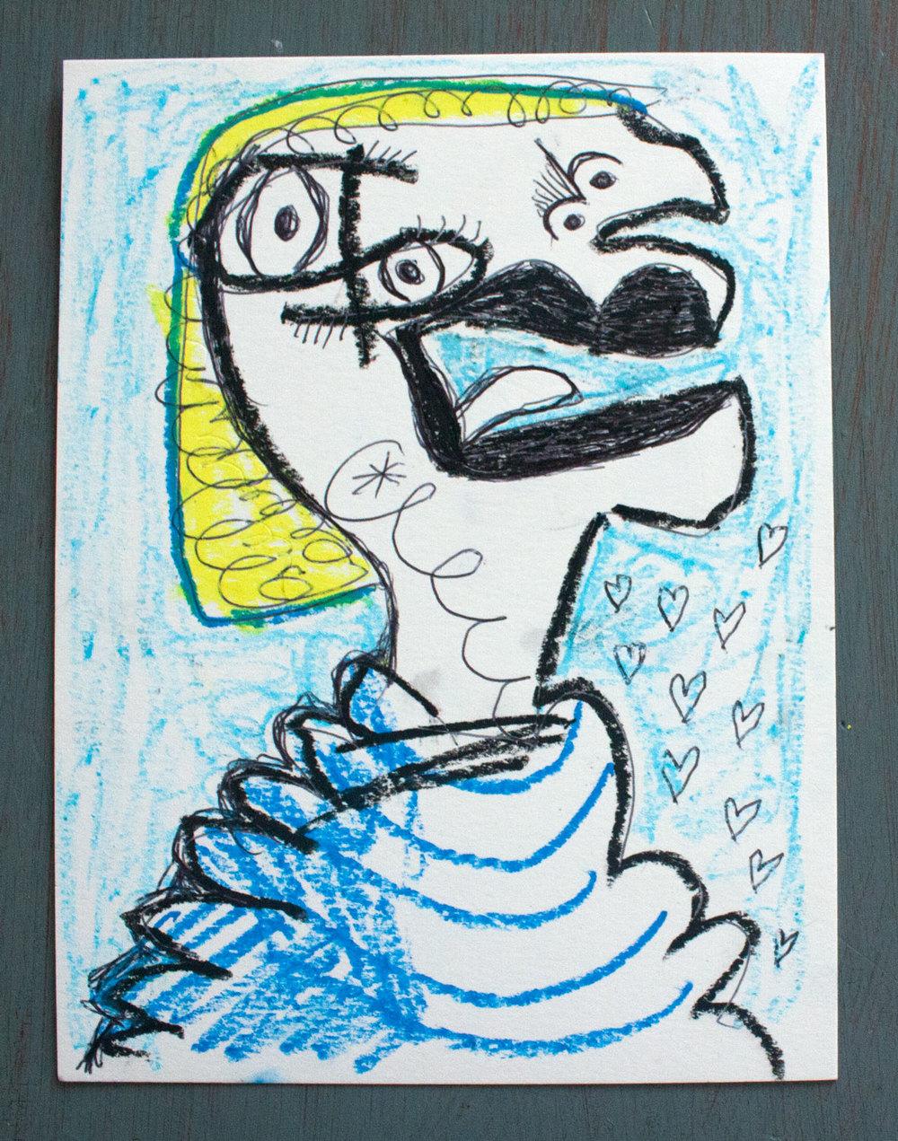 An odd mixed media drawing of a girl Matt Vaillette, 2016
